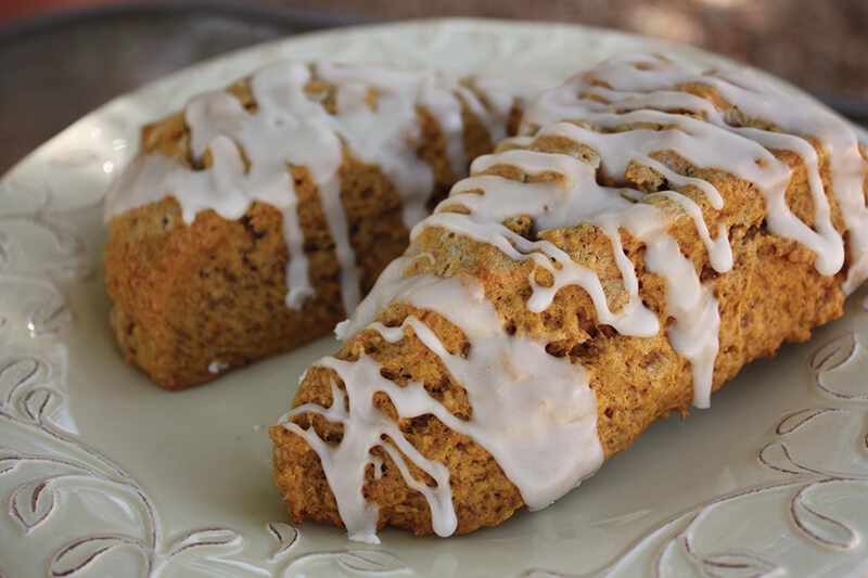 Spiced Pumpkin Scones with Maple Butter Glaze