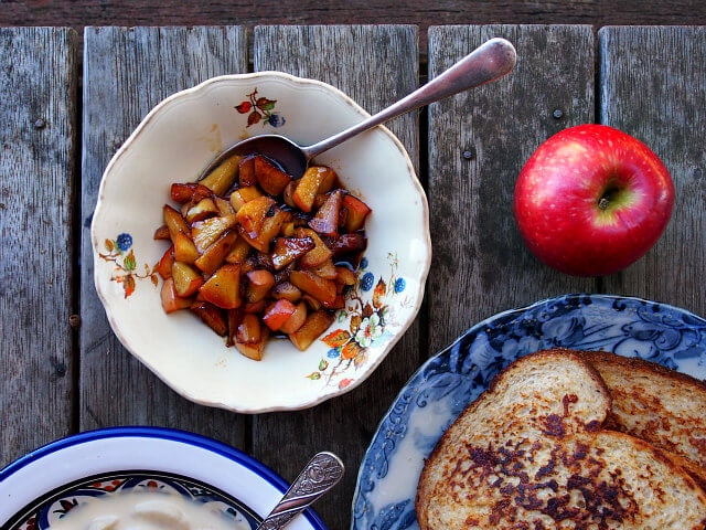 overhead view of a caramel apple topping for french toast